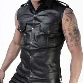 Whip It Leather Perforated Pocket Sleeveless Muscle Shirt SN7
